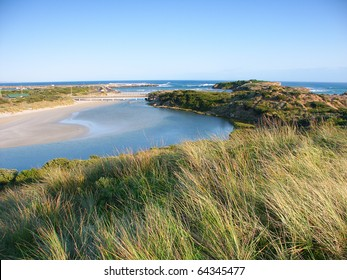 Mouth of the Hopkins River in southern Australia near Warrnambool, Victoria