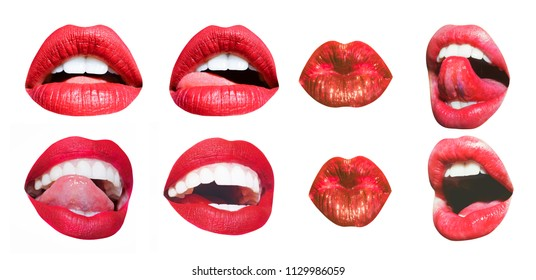 Mouth Icon. Sexy female lips with red lipstick isolated on white. White teeth, tongue of beautiful young women. Seductive lady mouth open, red lips. Different sensual forms of woman lips set