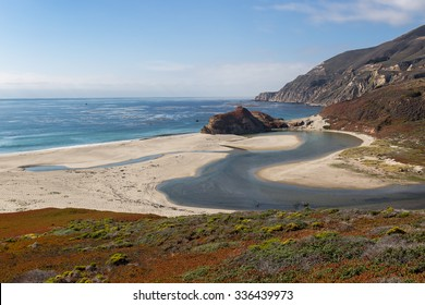 Mouth of the Little Sur River on the Central California Coast.