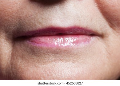 Mouth of old woman,closeup