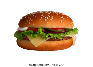 A mouth-watering Burger on a perfect white background with reflections: pickled cucumber, rings of red onion, cheese, tomato, egg, lettuce, crispy Golden bun. A beautiful photo for the menu.