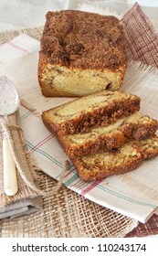 Mouthwatering cinnamon coffee cake , sliced