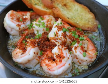 Mouthwatering Spanish Style Garlic Shrimp or Gambas al Ajillo in a Hot Pan
