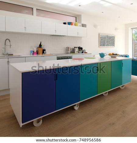 Movable Kitchen Island On Castor Wheels Stock Photo (Edit Now ...