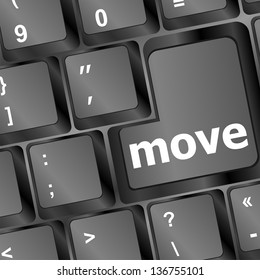 Move button word on black keyboard, raster