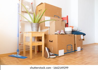 Move. Cardboard boxes, cleaning stuff and things for moving into a new home