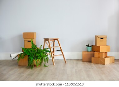 Move. Cardboard boxes in empty new apartment