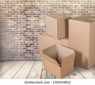 Move. lots of cardboard boxes on background