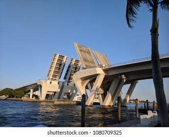 moveable bridge, ocean, blue sky, Florida, Ft Lauderdale