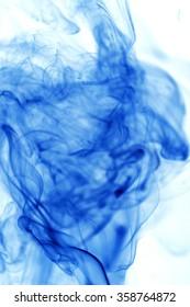 Movement blue smoke on white background.