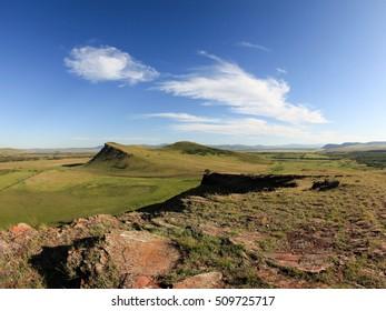 Movement of Clouds over the mountain ridge Sunduki. Republic of Khakassia, Russia,
