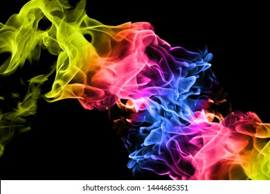 Movement of colorful smoke on black background. abstract background