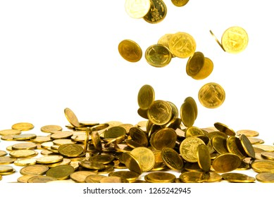 Movement of falling gold coin, flying coin, rain money isolated on white background, business and financial wealth and take profit concept idea.