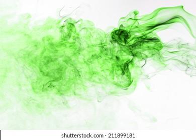 Movement of green smoke.