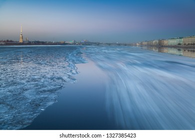 The movement of ice on the river Neva in St. Petersburg, Russia