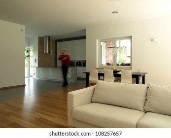 Movement of a person in a modern house