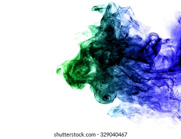 movement of smoke, Abstract  blue and green smoke on white background, blue andgreen smoke background, blue and green ink background