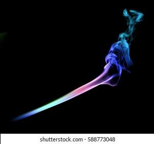 Movement of smoke. The smoke isolated on black background, beautiful colorful smoke