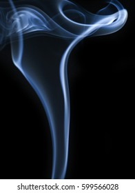Movement of smoke. The smoke isolated on black background, beautiful white smoke