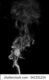 Movement of smoke, white smoke on black background,B&W