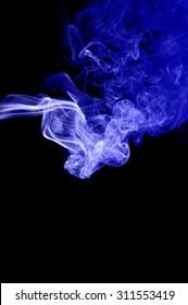 Movement of smoke,Abstract blue smoke on black background, blue background,blue ink background