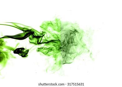 Movement of smoke,Abstract green smoke on white background, smoke background,green ink background,green, beautiful green smoke
