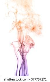 Movement of smoke,orange and purple smoke on white background,  smoke background,orange and purple ink background,smoke background ,beautiful  smoke