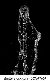 Movement of water on a black background