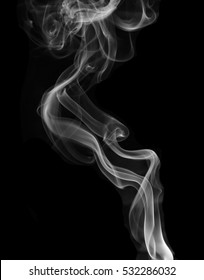 Movement of white smoke isolated on black background.