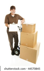 Mover or delivery man with a load of packages that require a signature.  Full body isolated on white.