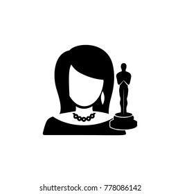 movie actress holding trophy avatar icon. Characters of professions Icon. Premium quality graphic design. Signs, symbols collection, simple icon for websites, web design, mobile on white background
