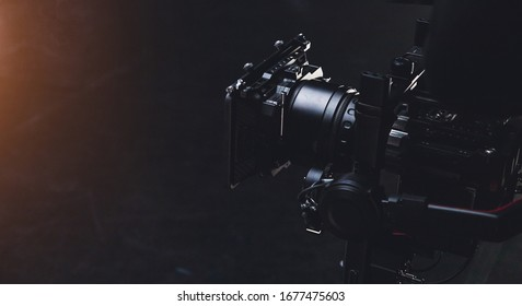 the movie camera shoots on the set close up