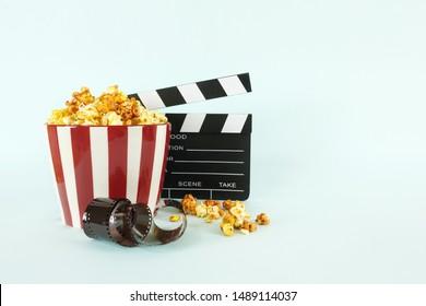 movie, cinema video concept. movie clapper board with copy space.