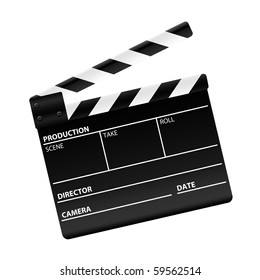 Movie clapper board isolated on white