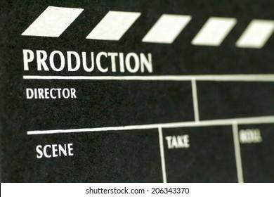 Movie Clapper Board. Macro