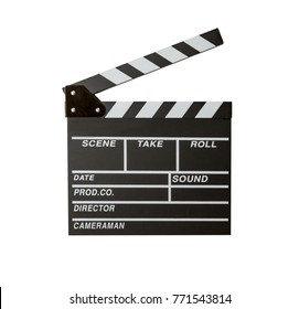 Movie clapper isolated on white background. Shown slate board. use the colors white and black.Realistic movie clapperboard. Clapper board isolated on white with clipping path included