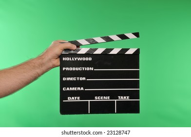 movie clapper on chroma green