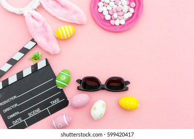 movie easter concept.Top view