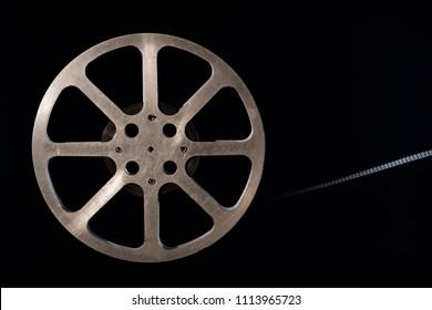 Movie film reel on dark