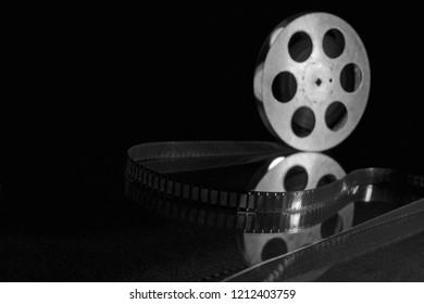 movie film reel on dark background