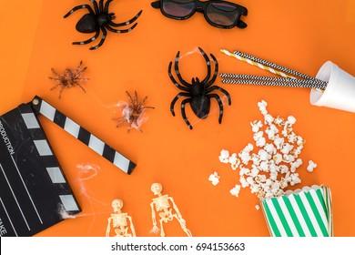 movie flat lay halloween concept