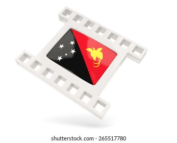 Movie icon with flag of papua new guinea isolated on white