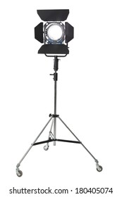 Movie light on stand cutout on white background