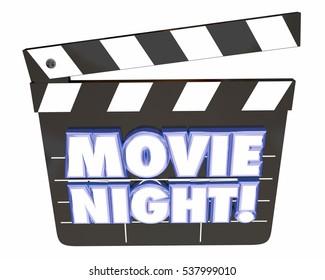 Movie Night Clapper Board Entertainment Film Watching 3d Illustration