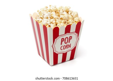 Movie Objects Serie: Admit One ticket and Popcorn, Isolated on White background