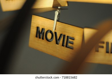 MOVIE on a wooden sign, photograph Aspirations word