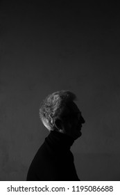 Movie poster, book cover, film noir concept. Arty profile portrait of fashionable mature man wearing trendy black turtleneck. Silver hair. German expressionism style. Contrastive monochrome shot