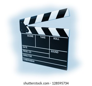 Movie production clapper board on a blue background