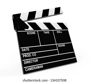 Movie production clapper board on a white background