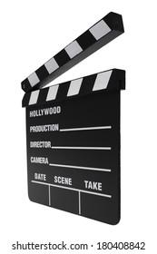 movie set clapper board on white